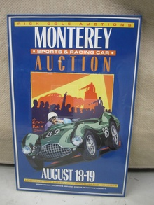 Original poster from the 1989 Rick Cole auction in Monterey celebrating Aston Martin.