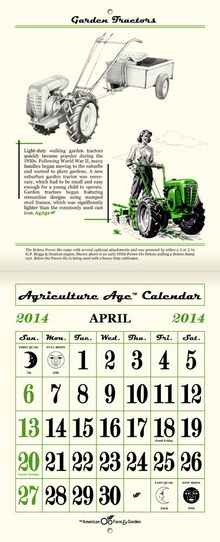 Agriculture Age 2014 Calendar. This neat calendar uses vintage images of all sorts of cool ...