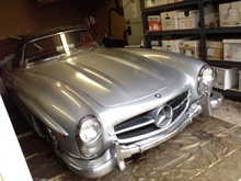 1961 Mercedes 300SL Roadster. Silver with red leather. This car was born DB40G. That is ...