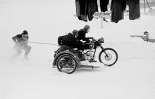 Photographer John Chillingworth took these photos at the 1953 Motorcycle Skiing championships, held at Ehrwald ...