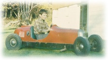 My 1939 Custer gas-powered kids go kart. Photo behind our Andover, MA home circa 1965.
