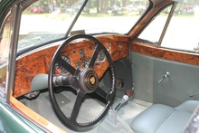 Cockpit of the 1954 Jaguar XK 120 FHC. Later XK 140 horn button but who ...