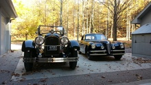 Our 1923 Duesy after a 30-mile romp through the countryside, alongside a visiting 1948 Alfa ...